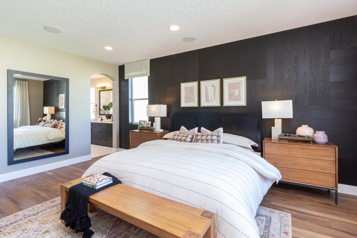 Spacious primary suite is a serene retreat