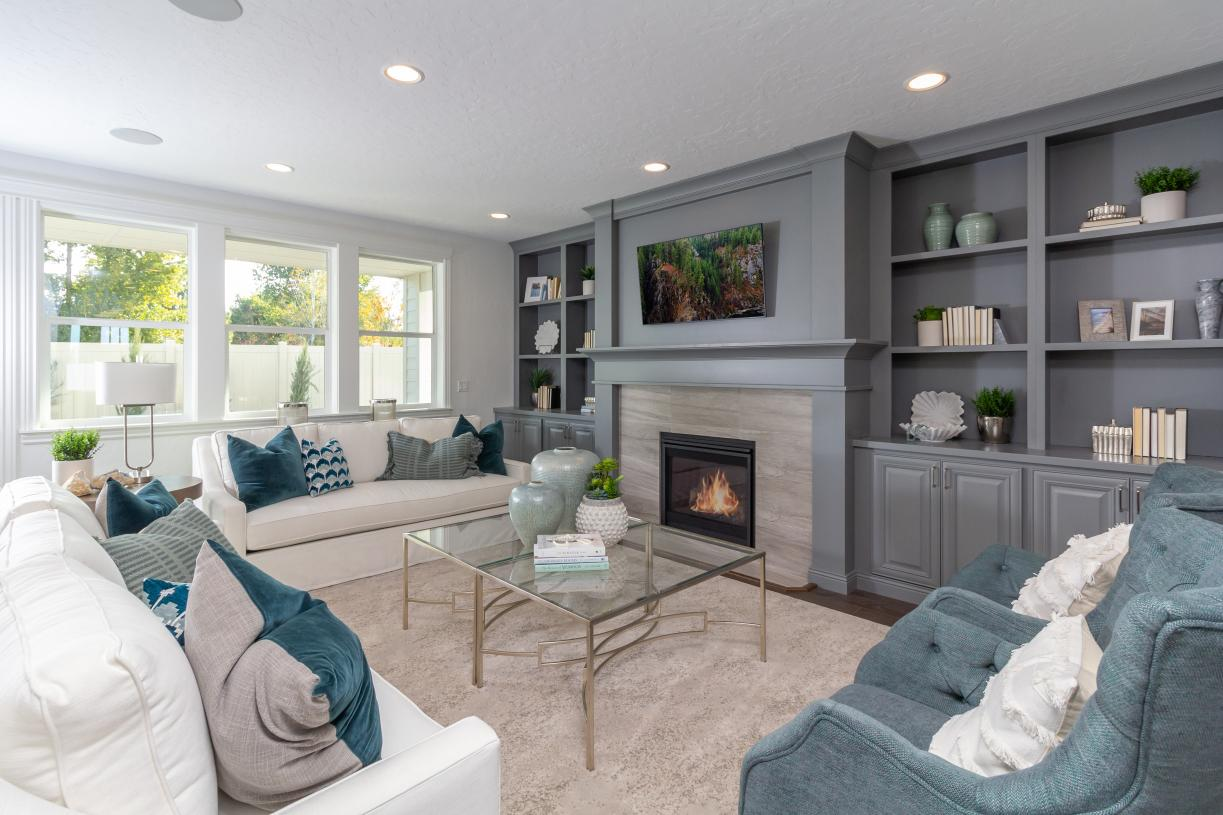 Welcoming great room with cozy fireplace
