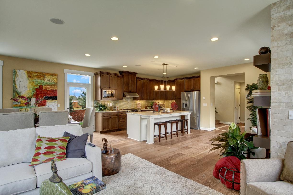 Open-concept great room is perfect for entertaining