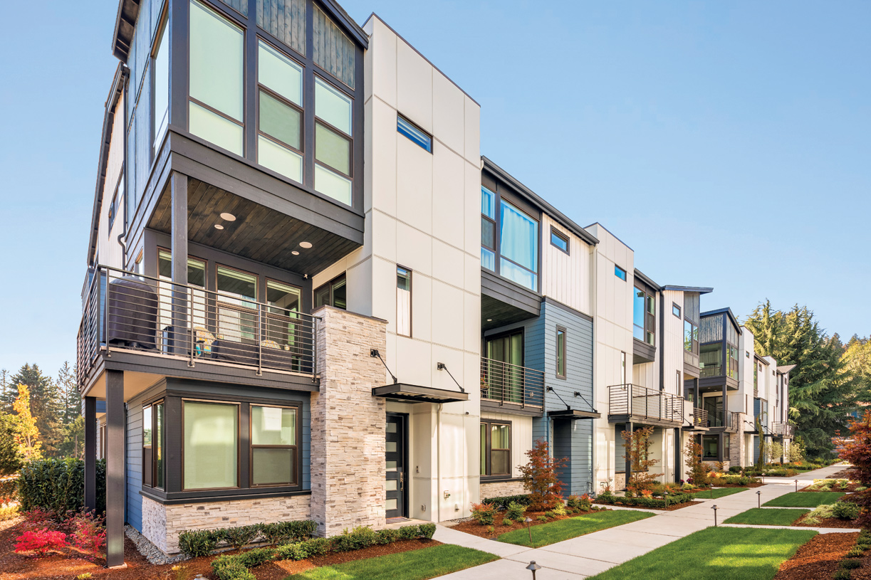 The Burke townhomes create a pedestrian friendly streetscape