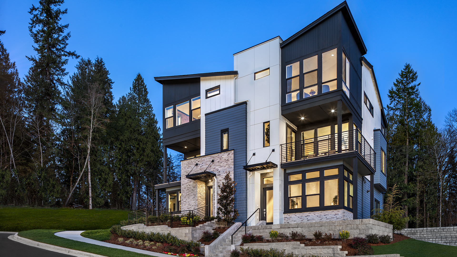 The contemporary Burke townhome features striking architectural details