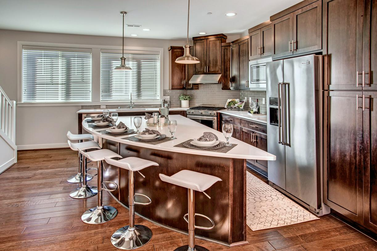 Well designed kitchen with dramatic center island