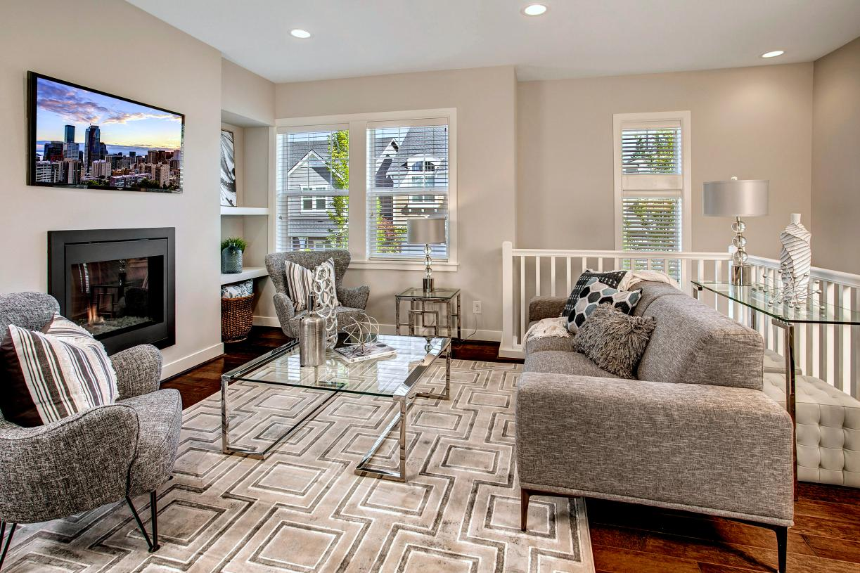 Living room features a gas fireplace