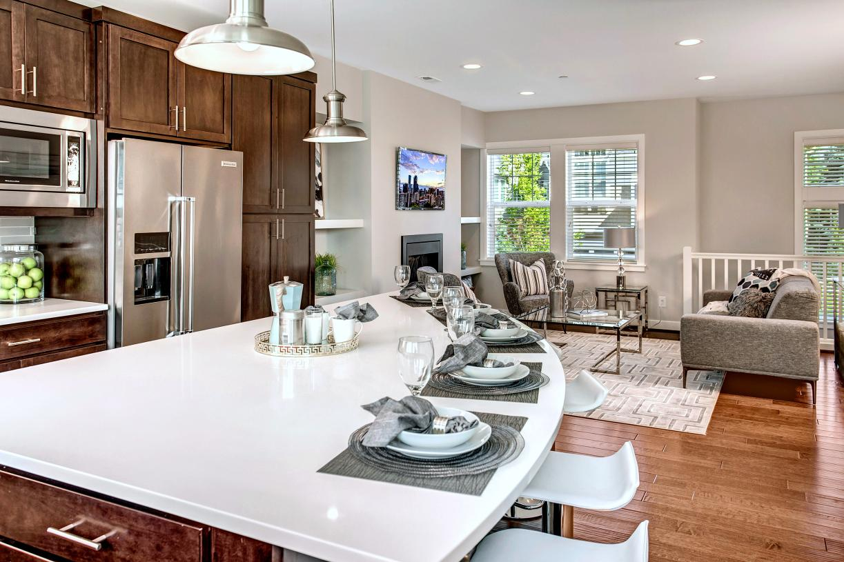 Spacious kitchen with large center island is an entertainer's dream