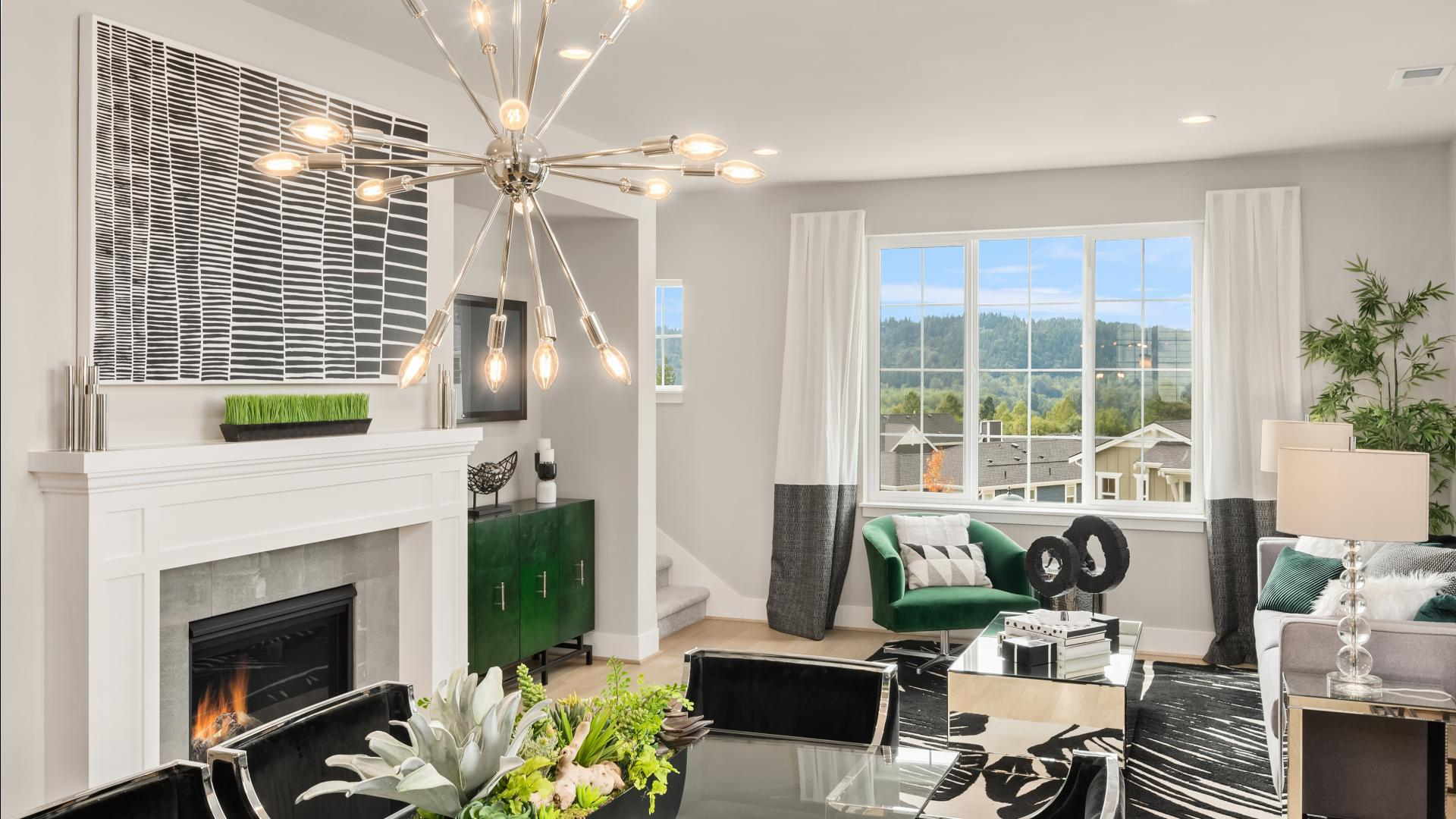 The Hancock offers a bright, open concept great room with cozy gas fireplace