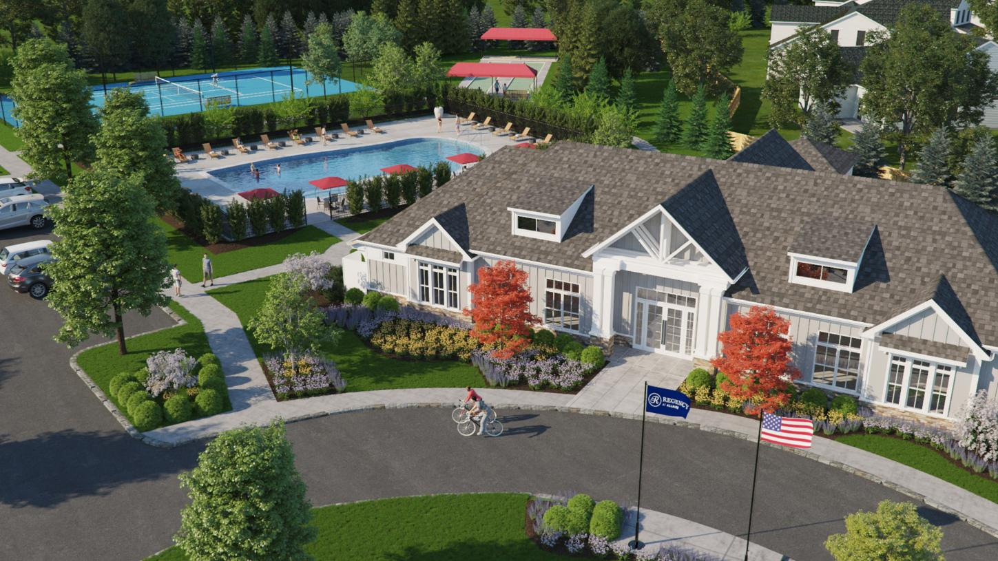 An aerial view of your future community clubhouse