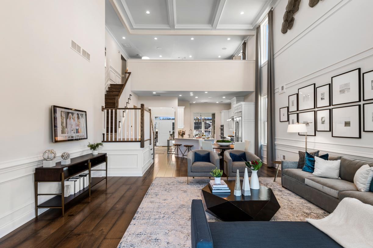 Sunny floor plan designs with volume ceilings