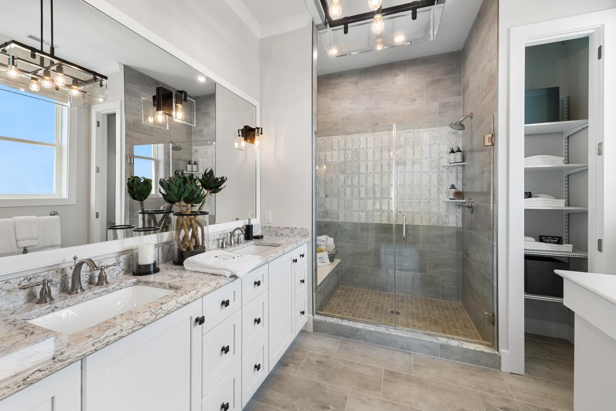 Serene primary bathroom