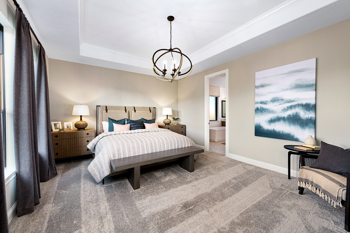 The Draper offers a contemporary primary bedroom