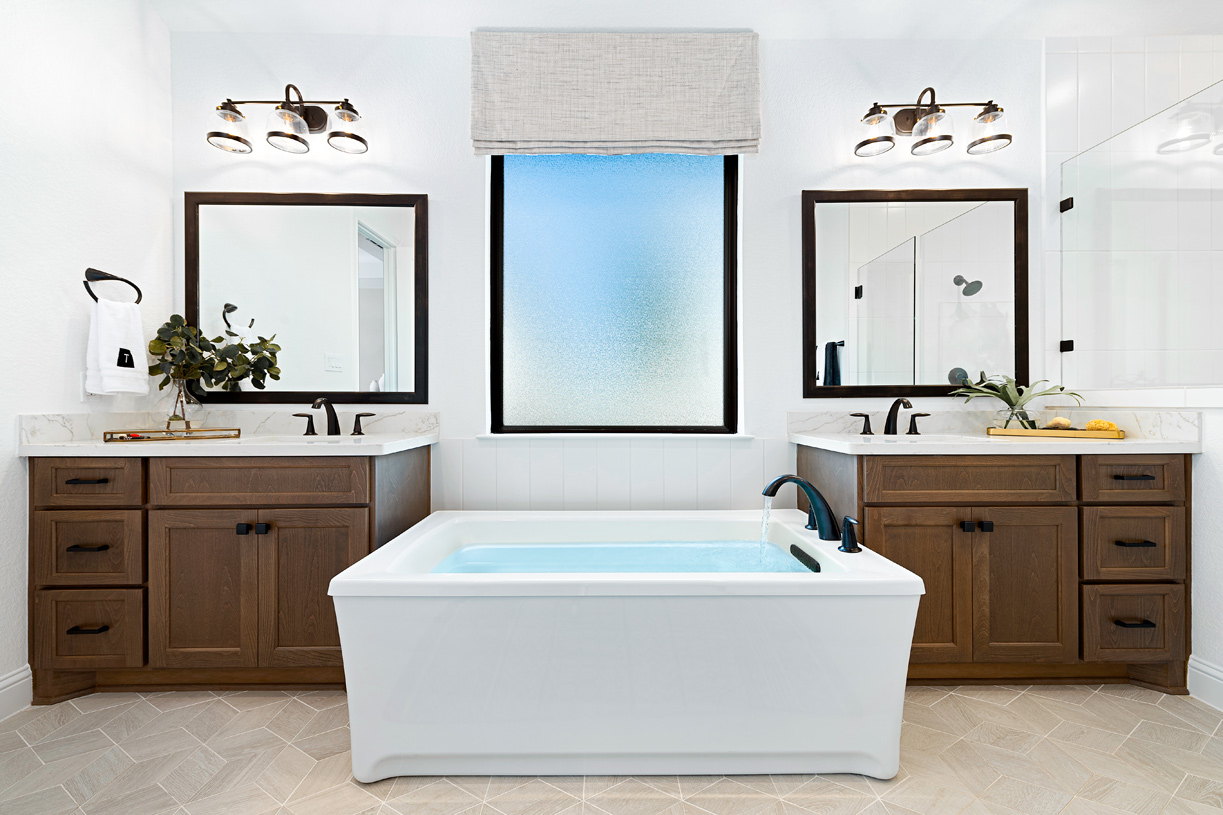 The Draper's spa-like primary bathroom is perfect for rest and relaxation