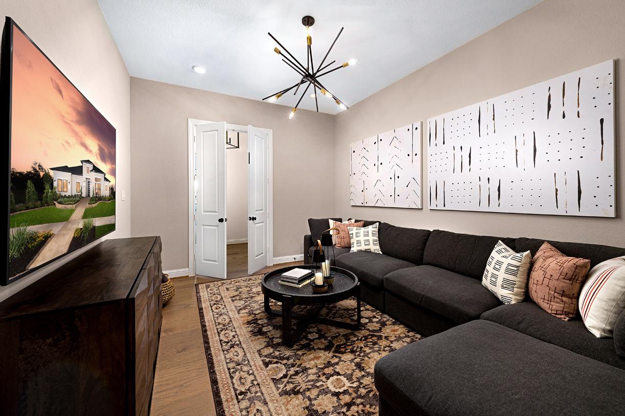 Draper's versatile media room is adjacent to the great room