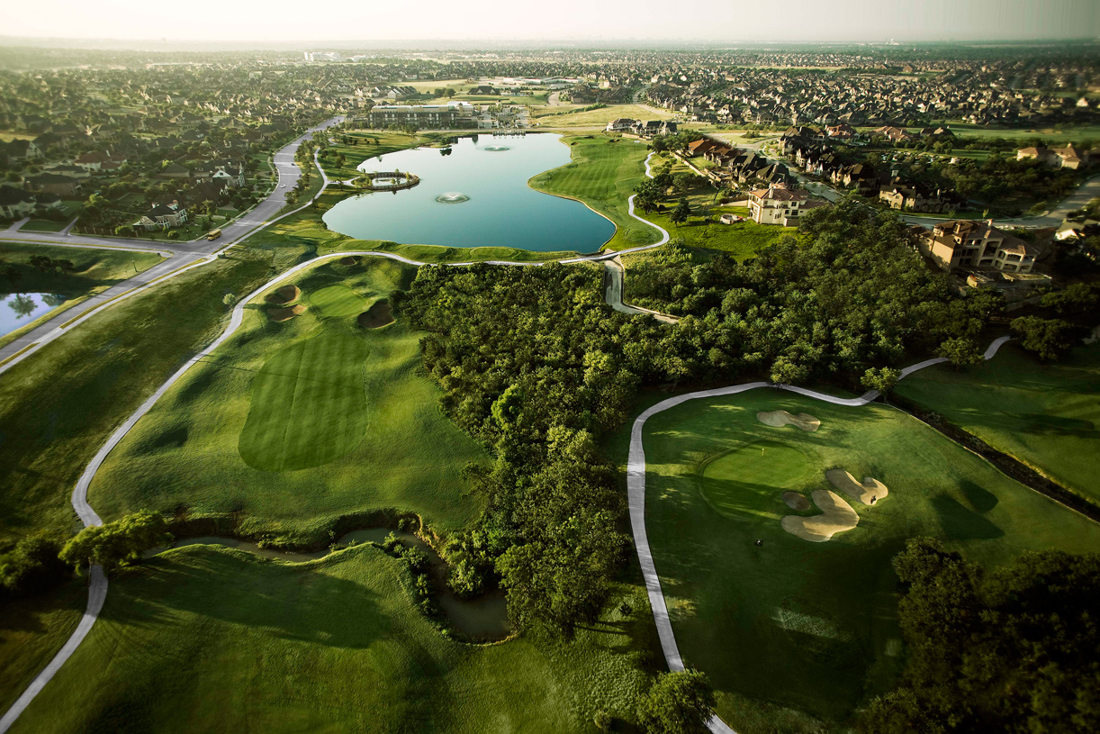 Aerial view of The Lakes at Castle Hills, private country club