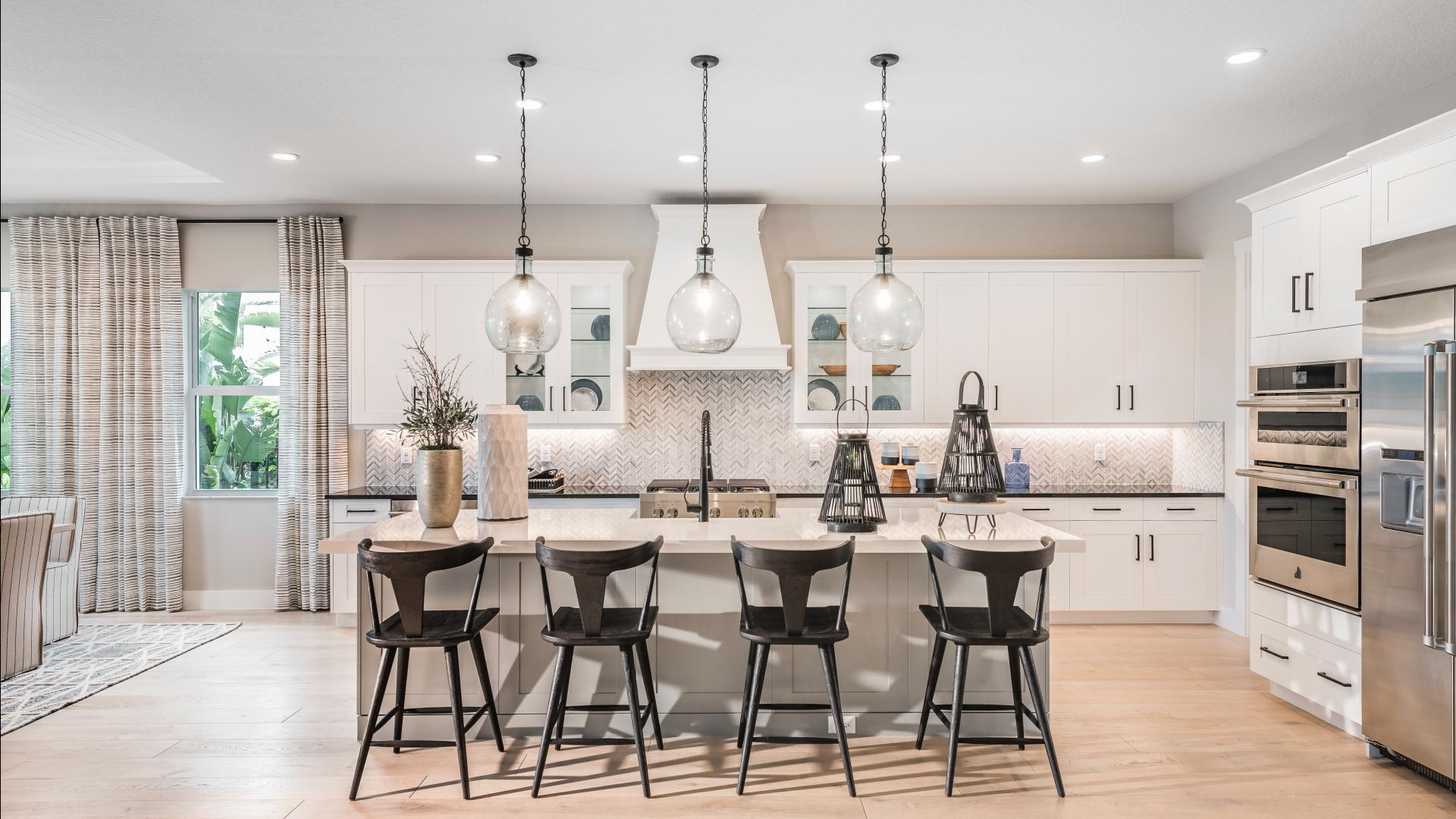 Gourmet kitchens with large center islands