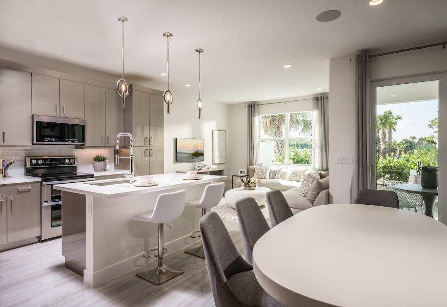 Kitchen, casual dining, and great room