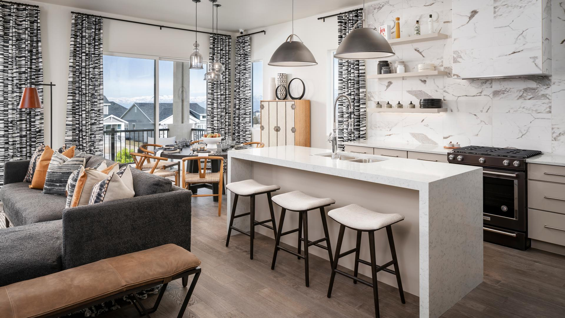 Open concept great rooms and beautiful kitchens with large center islands