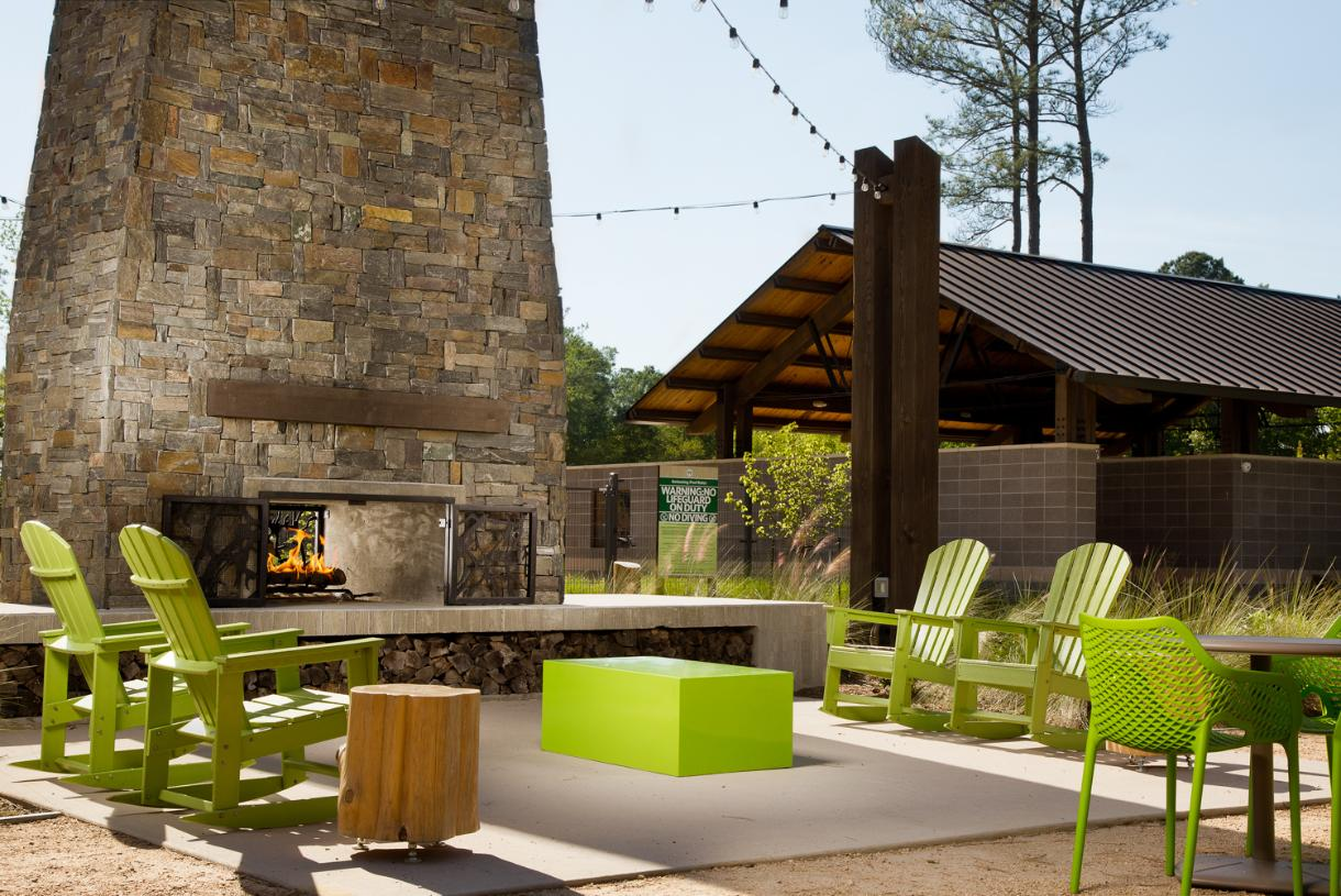 Relax by the fire at this outdoor community gathering space