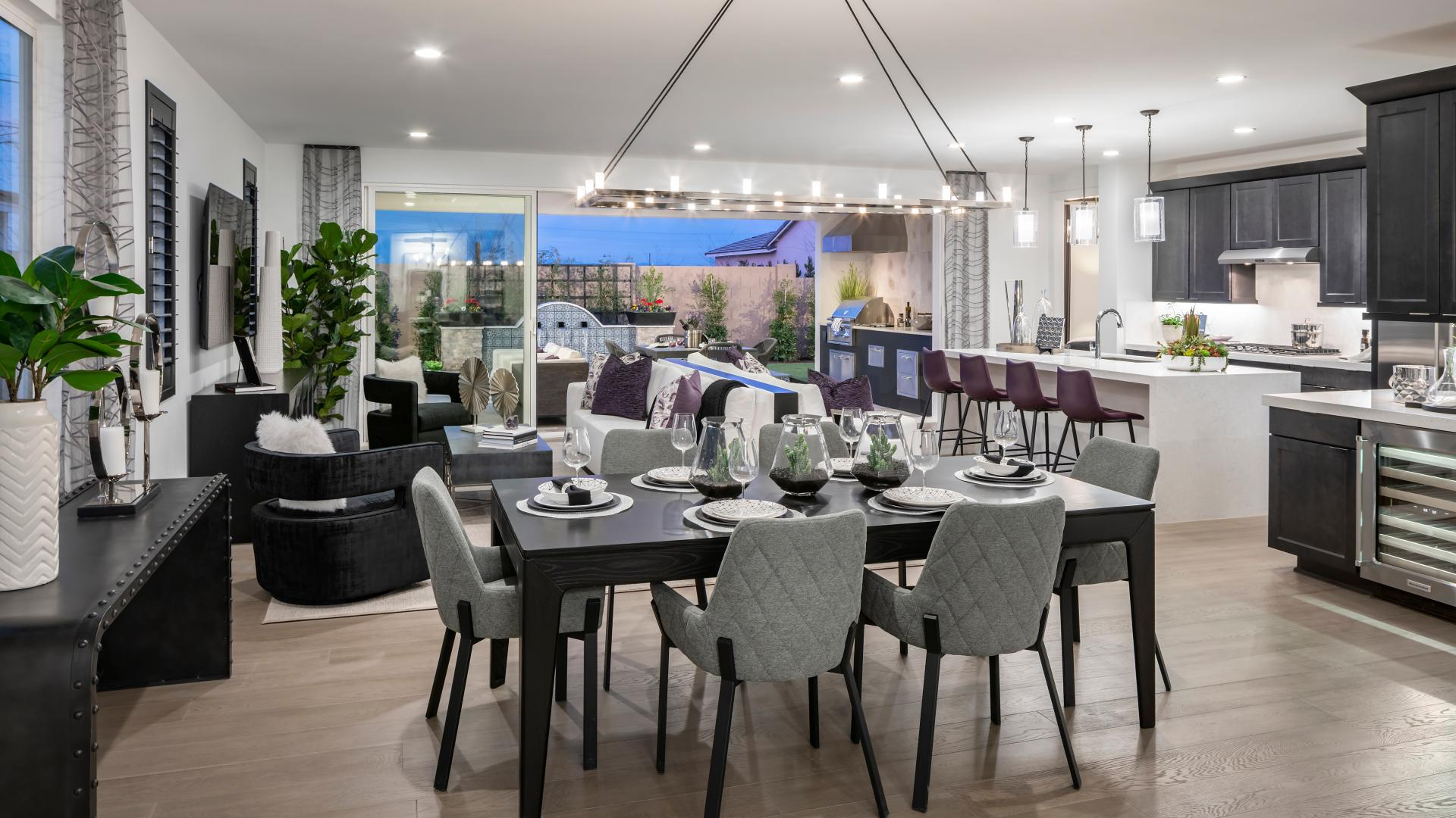 Open kitchen, great room, and dining perfect for entertaining