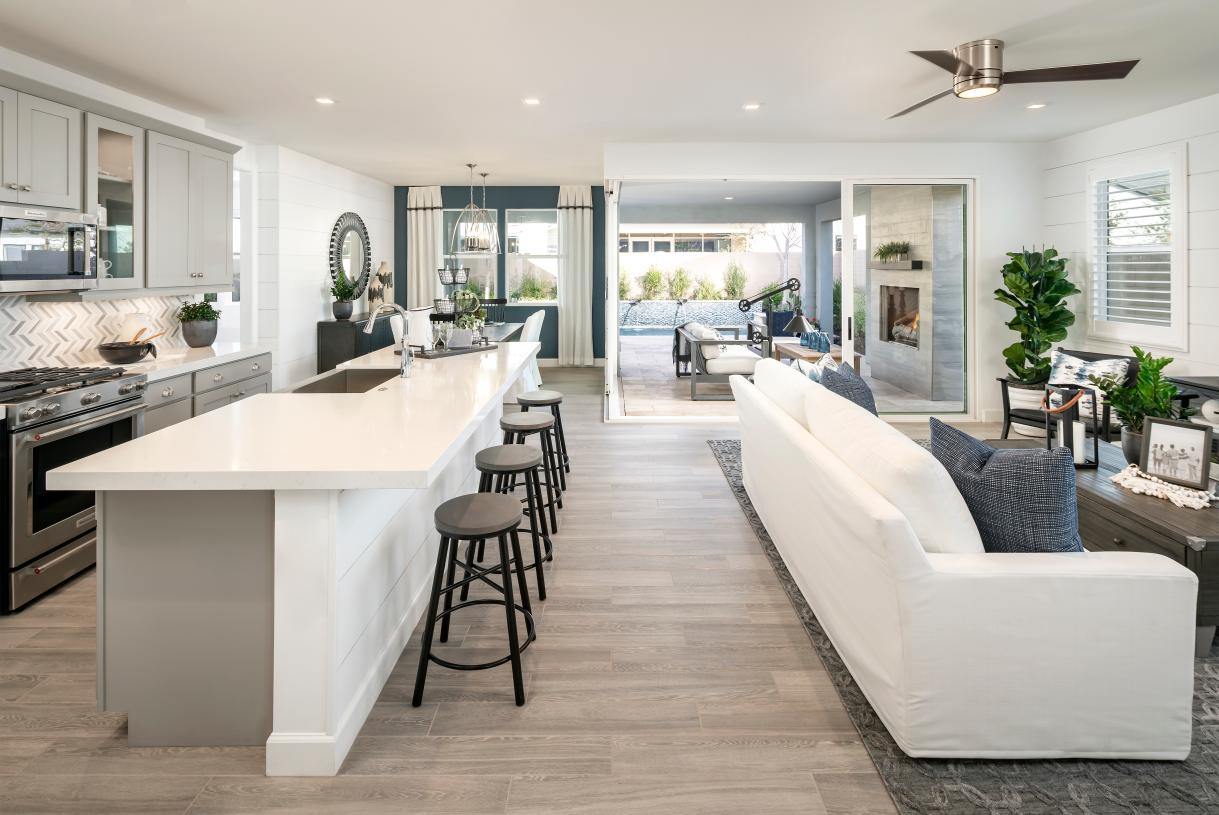 Open concept kitchen, great room, and dining perfect for entertaining