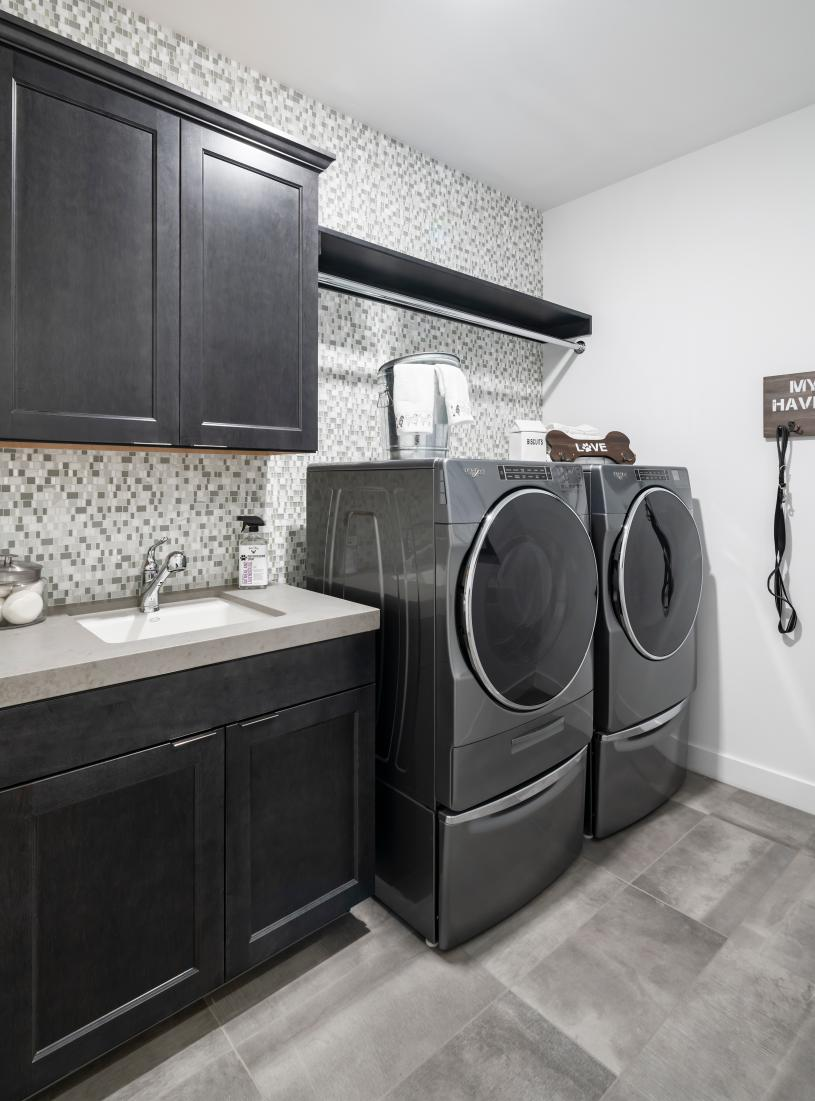 Sizeable laundry rooms with optional cabinetry and sink