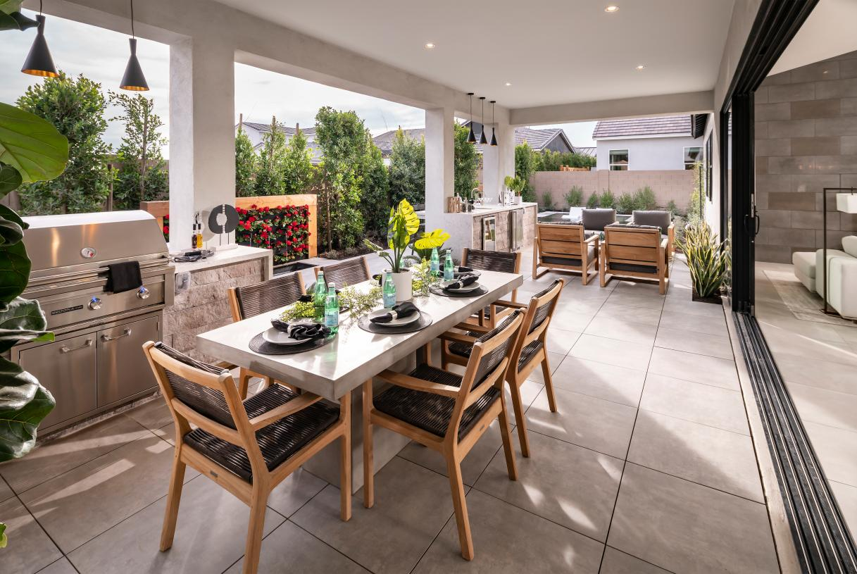 Large covered patios provide ideal space for indoor/outdoor living