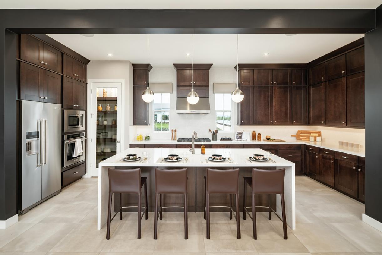 Well-designed kitchen with large center island and walk-in pantry