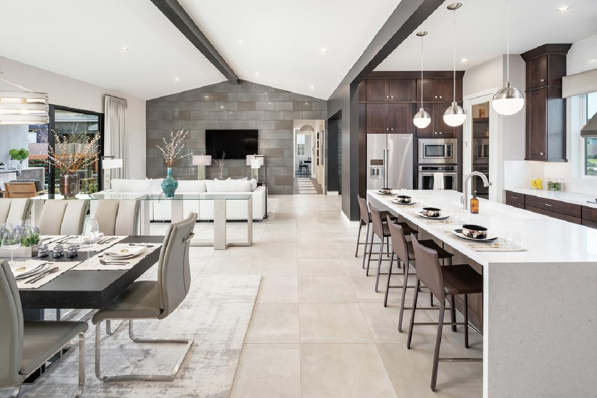 Impressive great room, dining room, and kitchen with cathedral ceiling