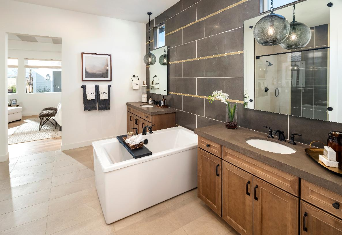 Luxe primary bathroom with dual vanities, soaking tub, and oversized walk-in shower