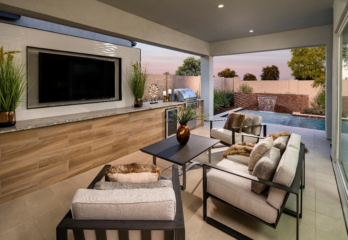 Covered patio with outdoor gathering area