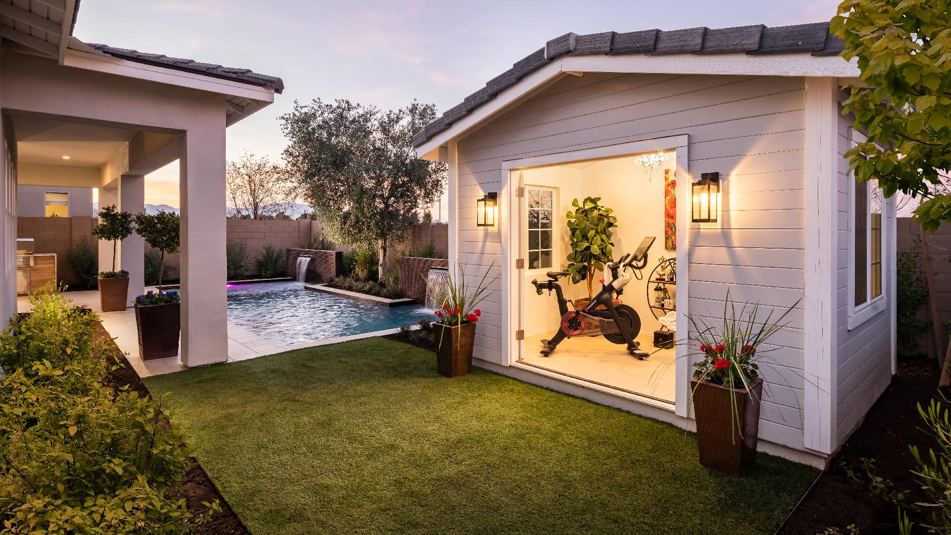 Secluded backyard shed provides the perfect space for a home gym