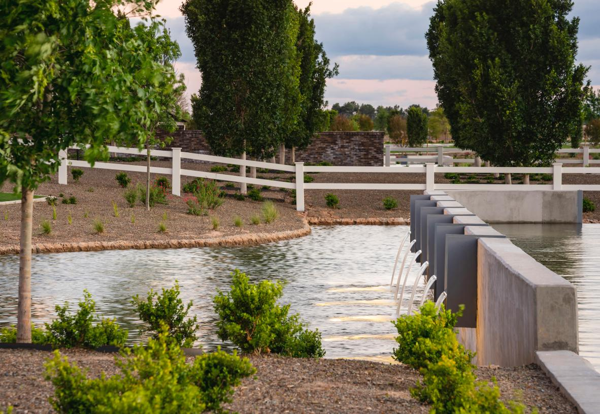 Picturesque setting with serene water features throughout