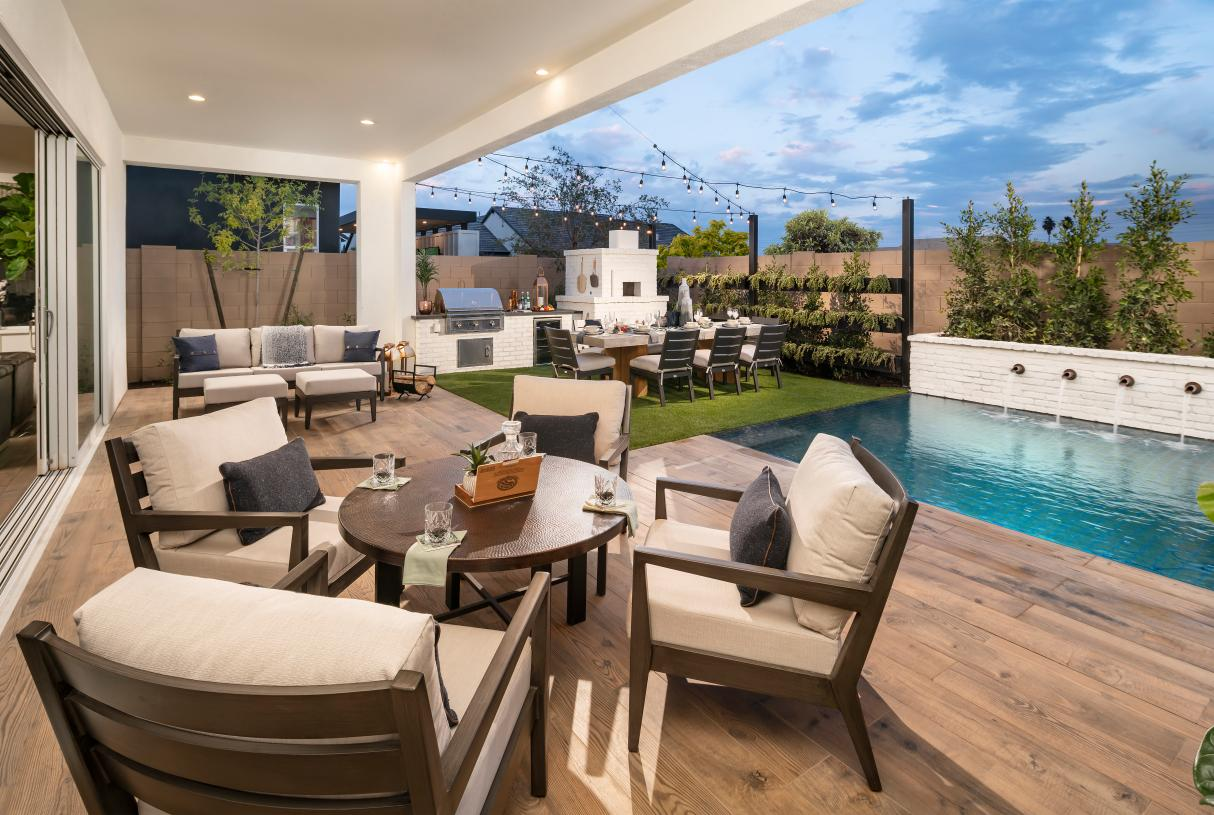 Oversized covered patio provides ideal indoor-outdoor living space