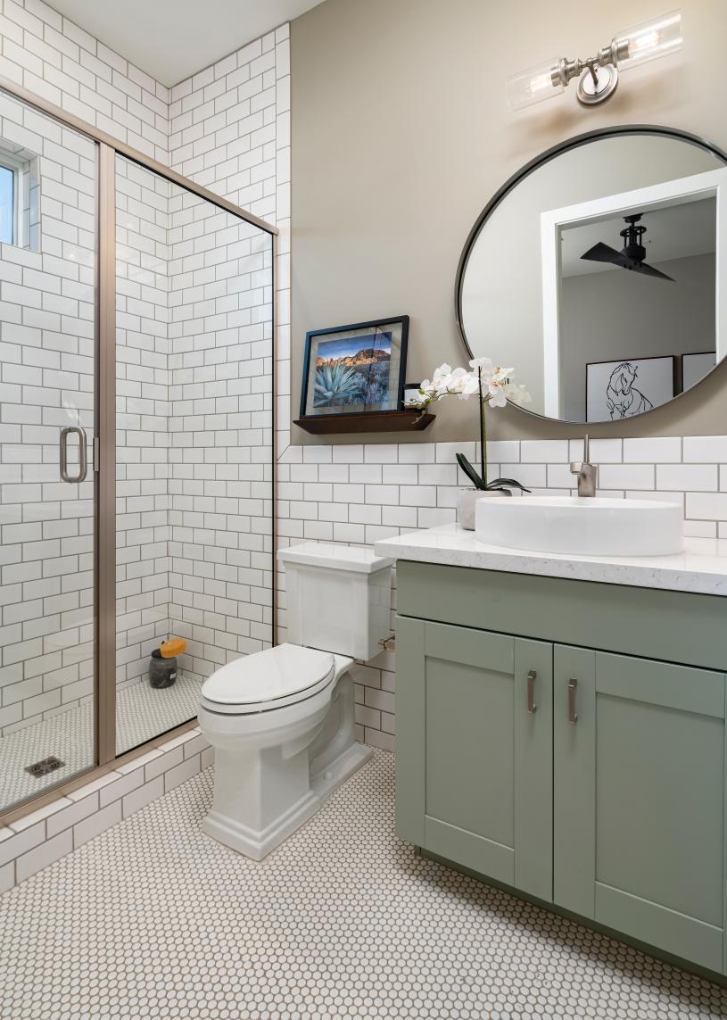 Casita bathroom with large walk-in shower