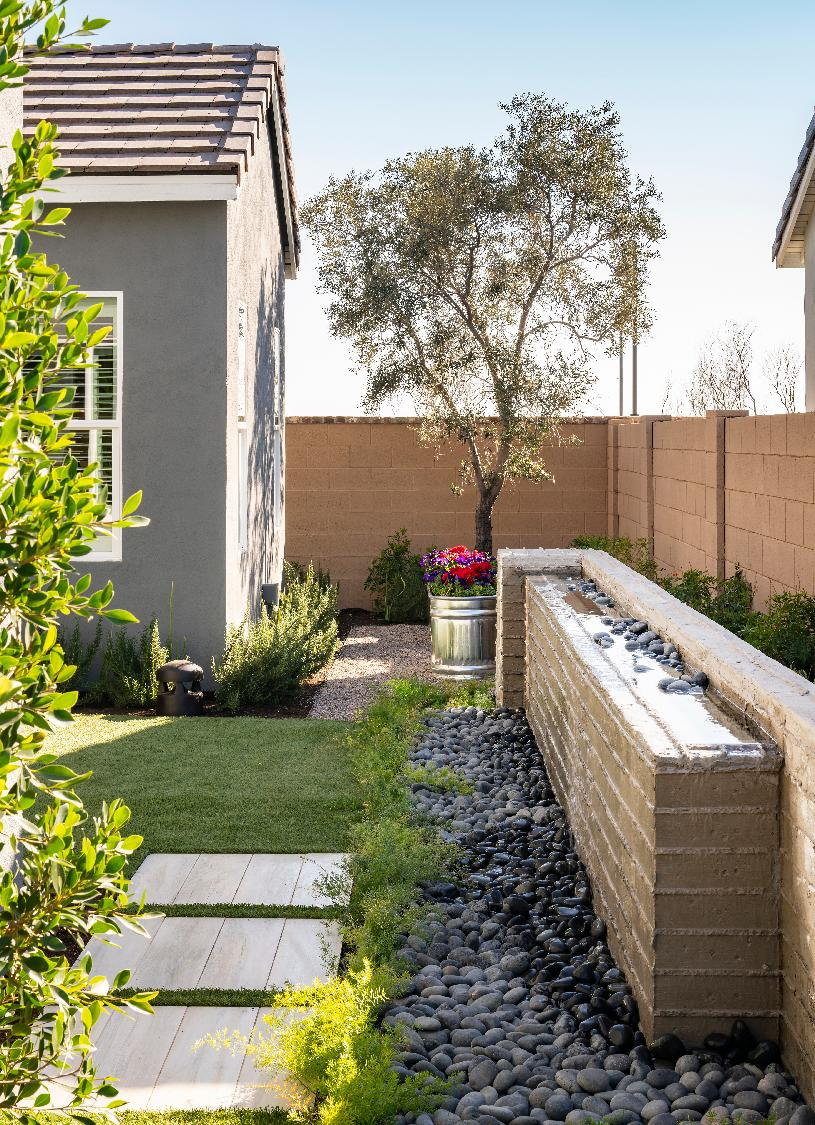 Serene backyard with water feature
