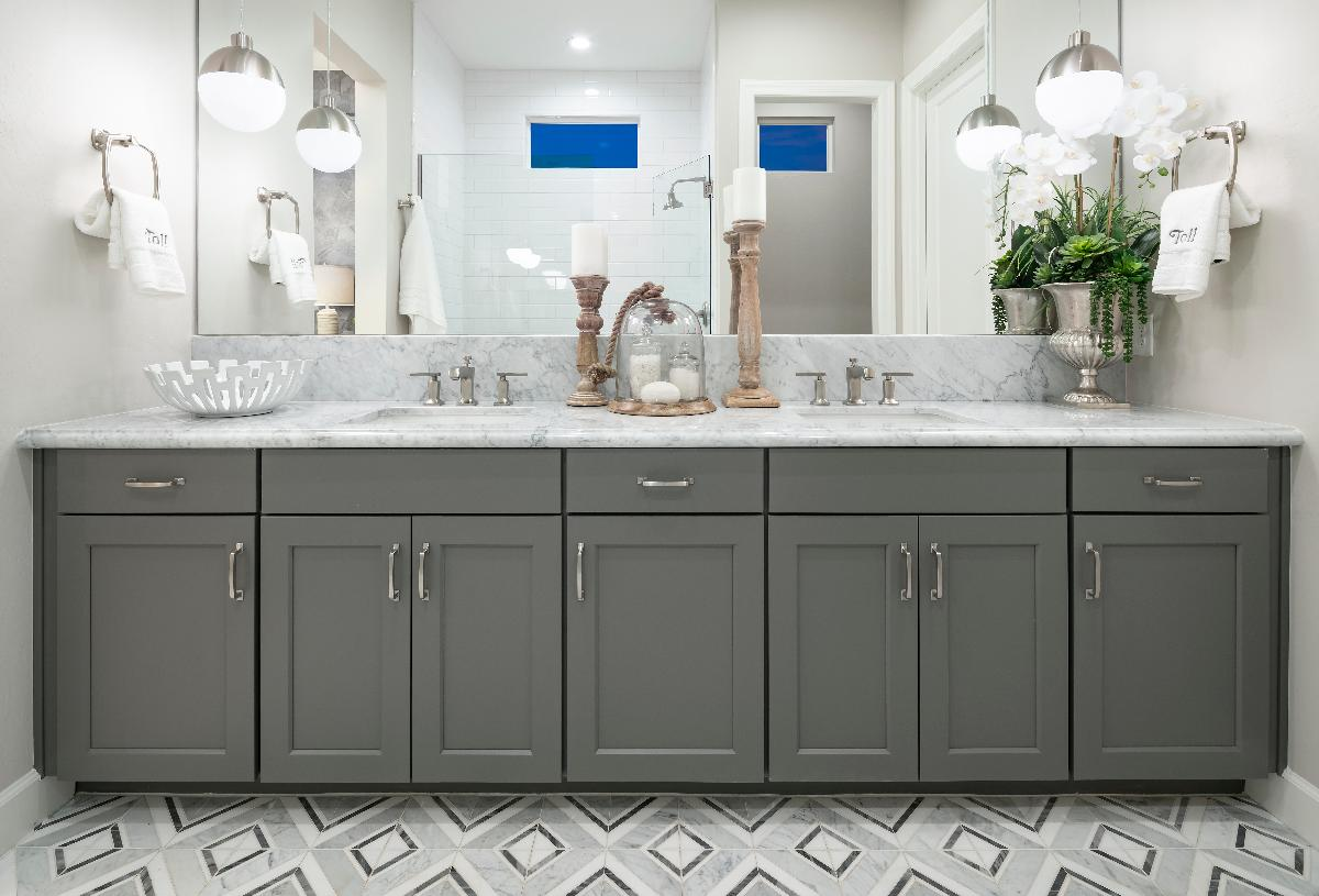 Luxe primary bath with dual-sink vanity and walk-in shower