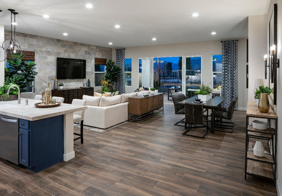 Open-concept great room with wood-look tile