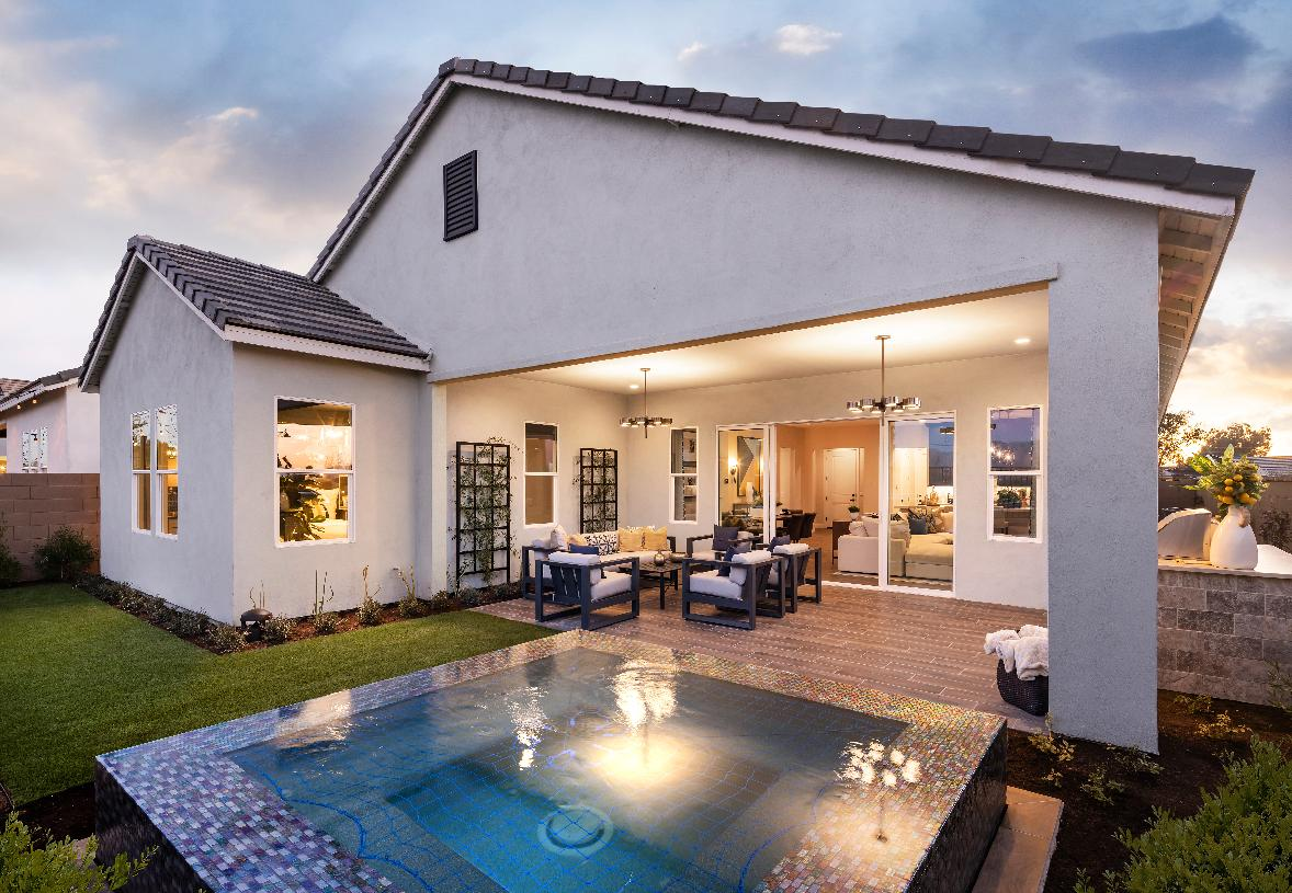 Beautiful backyard with spa and outdoor seating area