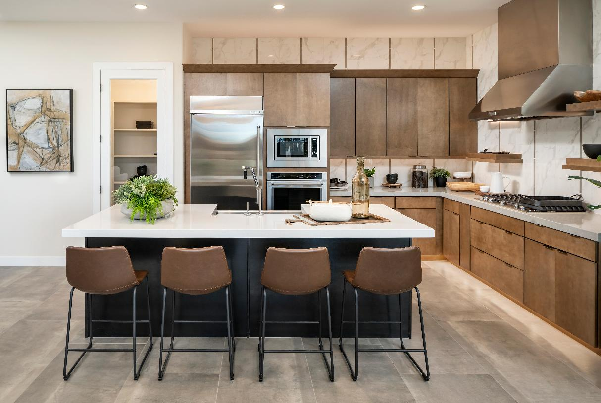 Well-appointed kitchen with large center island, stainless steel appliances, and walk-in pantry