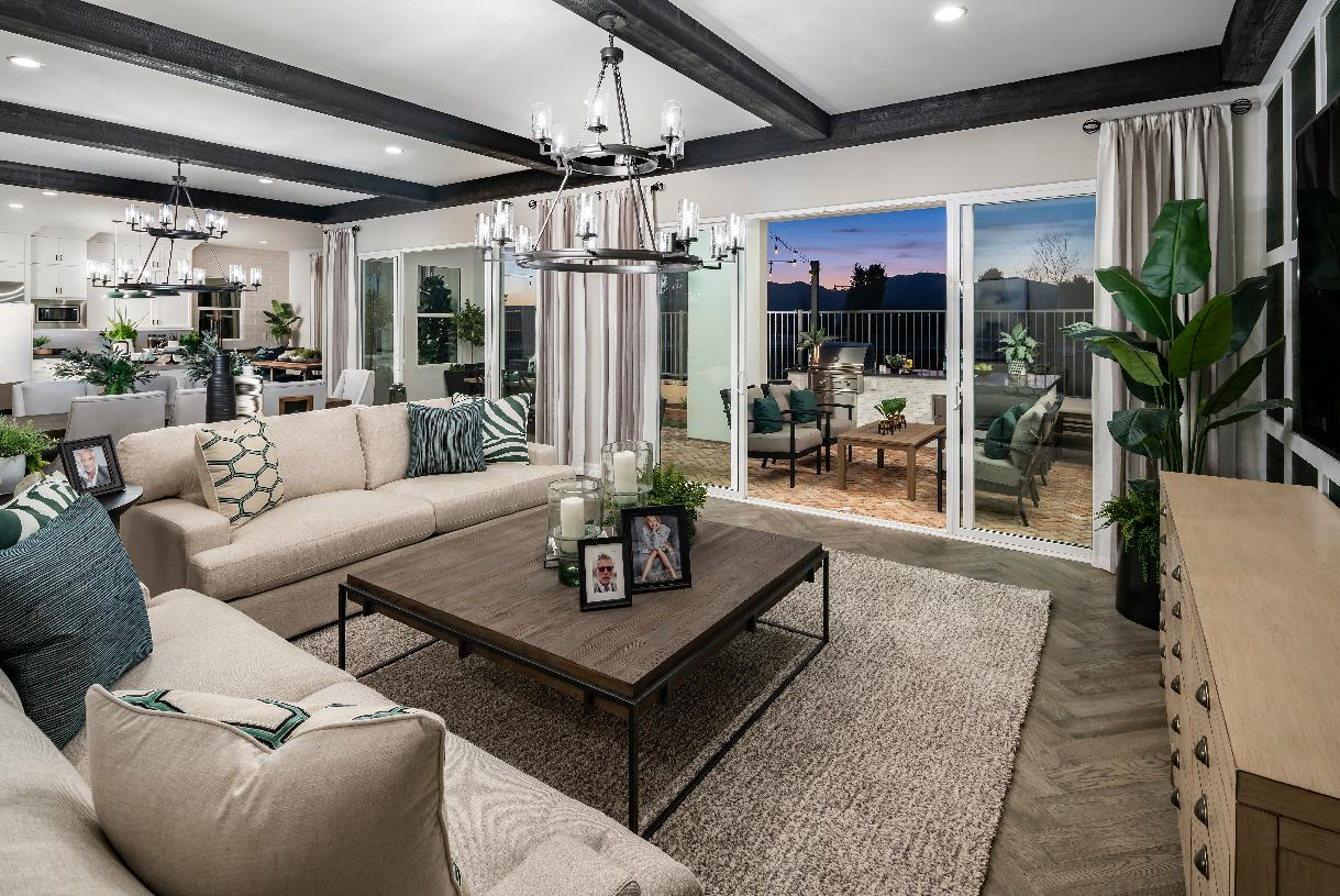 Open-concept great room with multiple 12' stacking doors