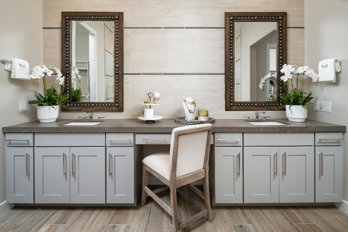 Luxe primary bathroom with dual-sink vanity