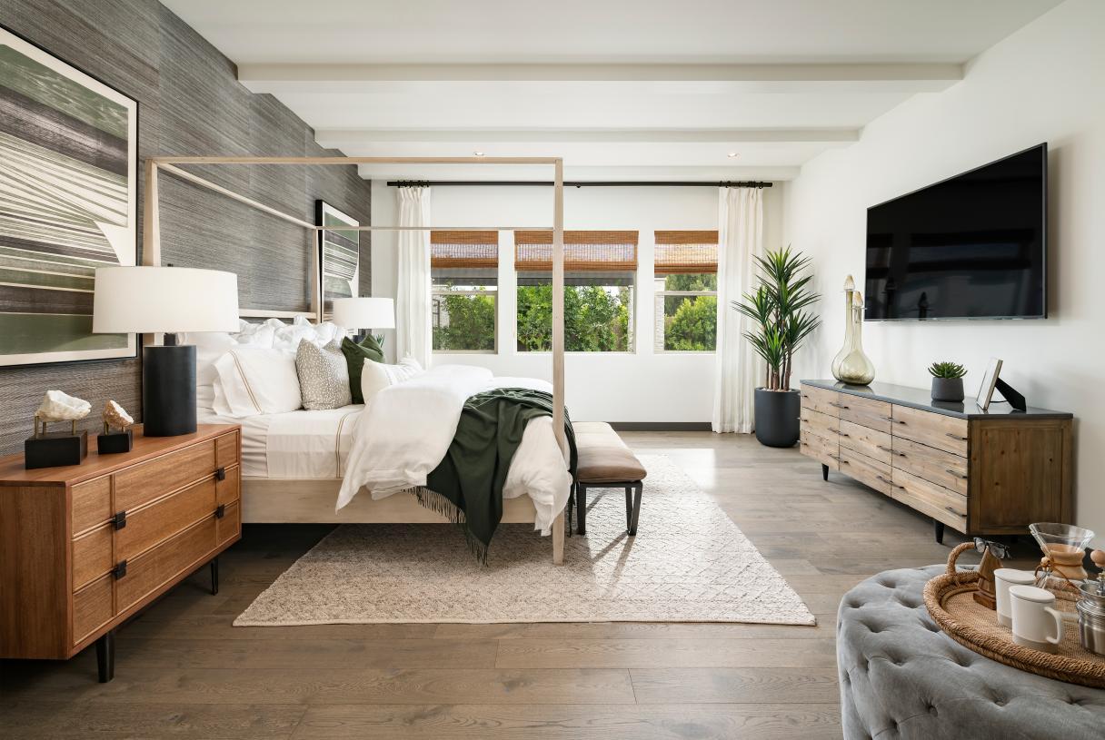 Hastings primary bedroom with beautiful ceilings