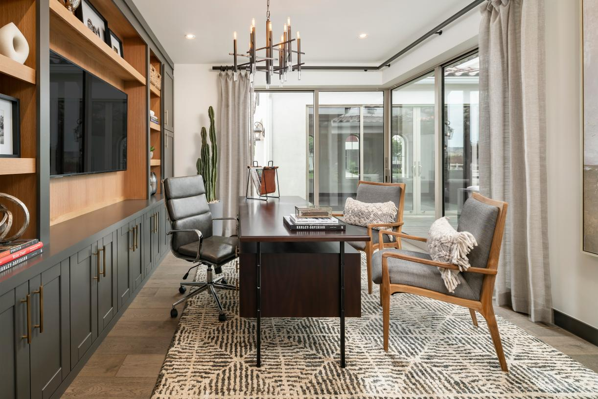 Hastings home office with sliding glass doors