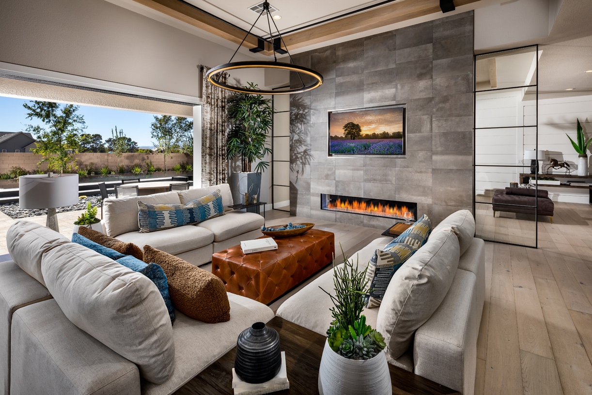 Cozy fireplace in the open-concept great room