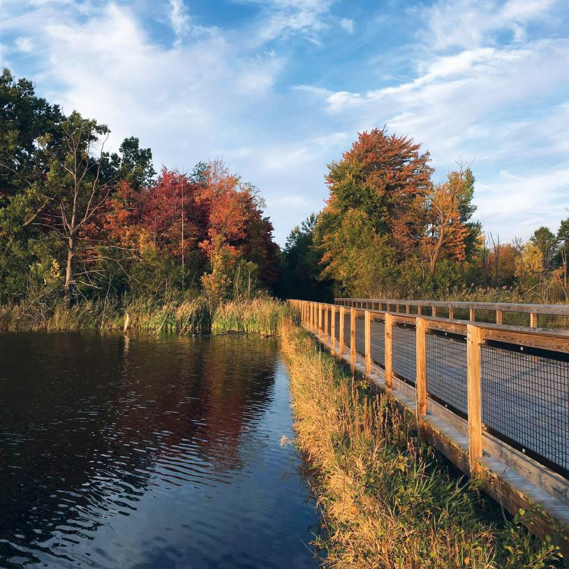 West Bloomfield Trail is only steps away, leading to the West Bloomfield Woods Nature Preserve and over six miles of scenic views and peaceful relaxation
