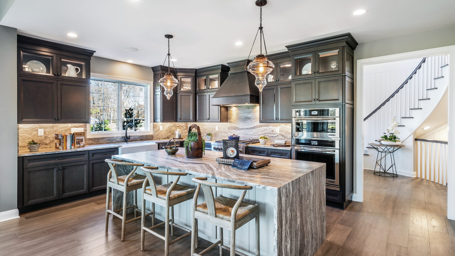 Open floor plans with high-end kitchen designs