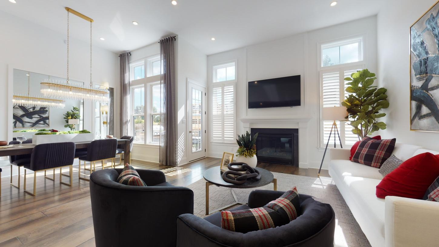 The Amberley's open floor plan shows off the living and dining space