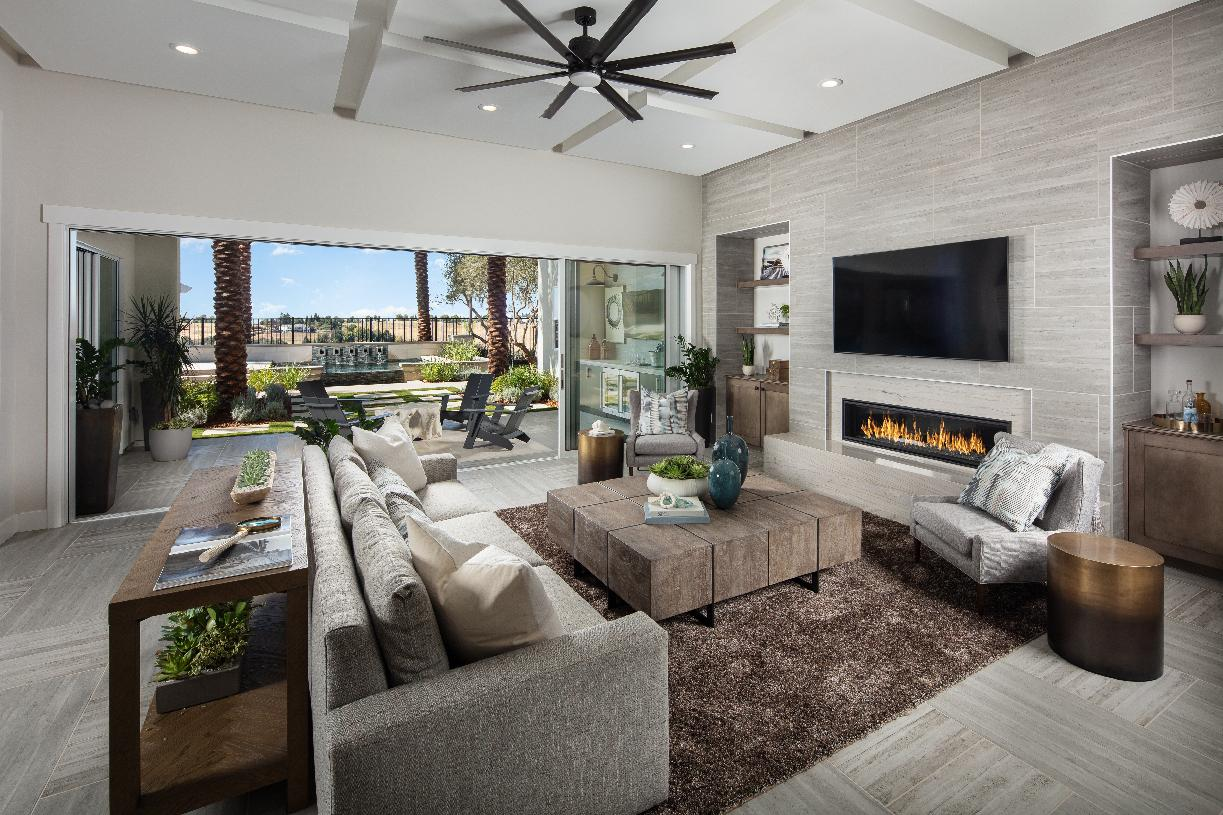 Great room opens to luxury outdoor living space