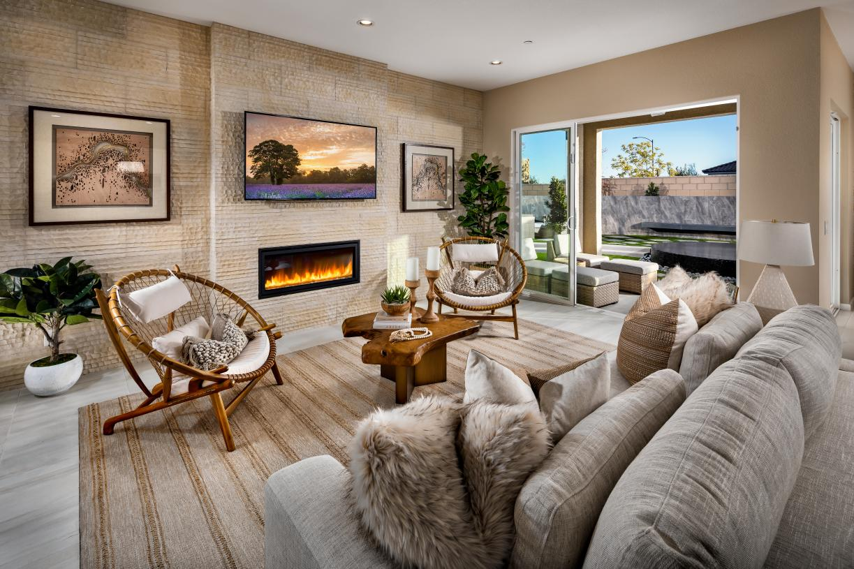 Spacious great room with fireplace