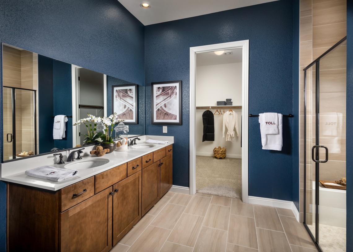 Luxurious primary bath with large walk-in closet