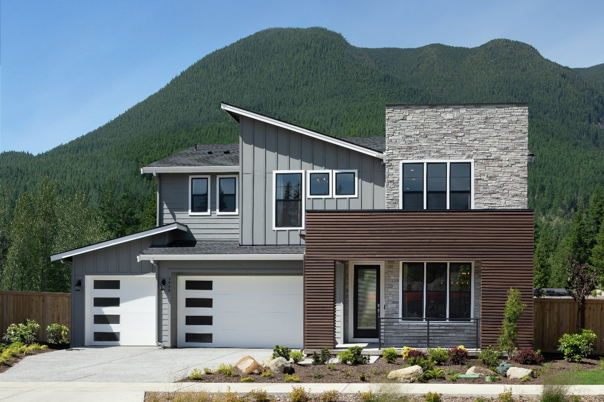 Varied architecture and Mount Si views throughout the community