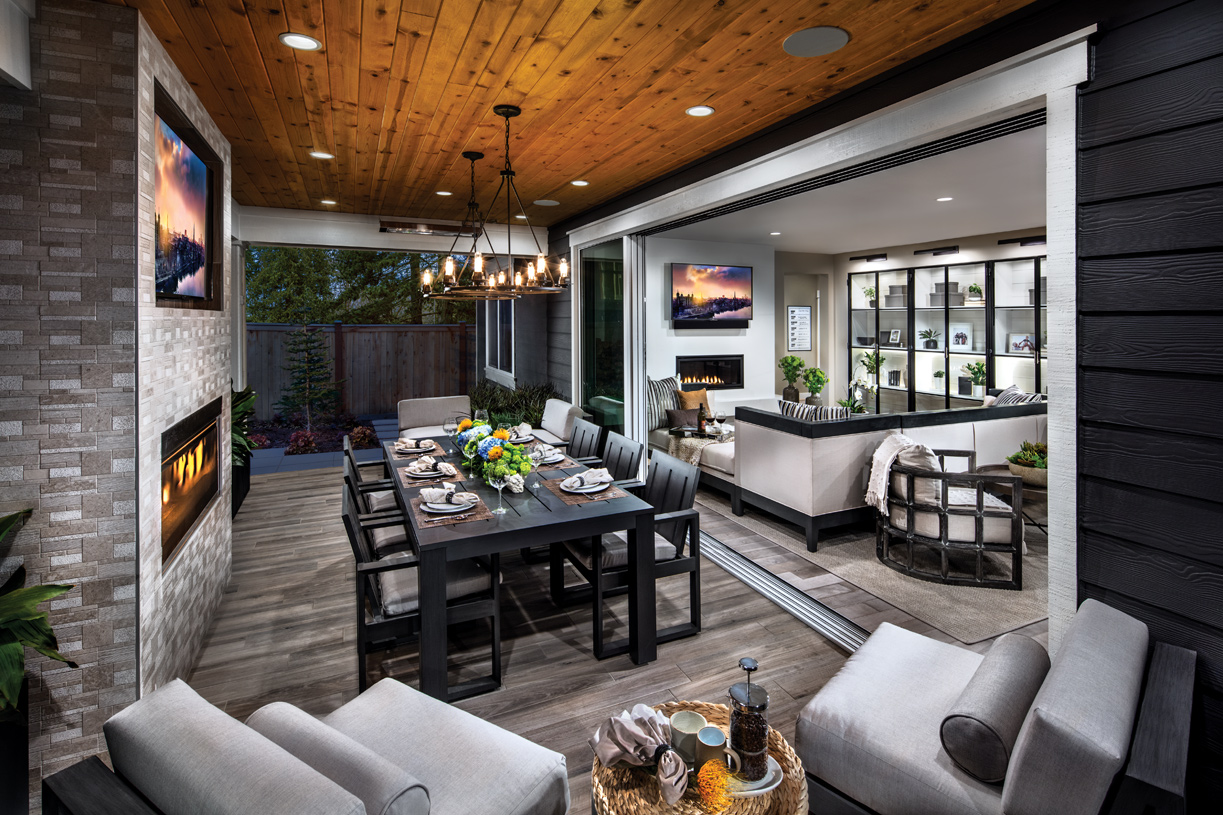 Covered back patios with options such as stacking glass doors and fireplaces blend the line between indoor and outdoor living